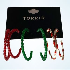 Torrid Set of 3 Hoop Christmas Holiday Beaded Red Green Candy-cane Earrings